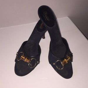 Authentic Gucci -Black Sandal Heel w/Bamboo detail